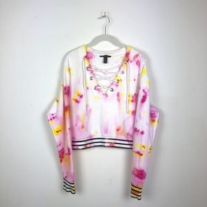 Tie Dye Lace Up Front Striped Terry Sweatshirt